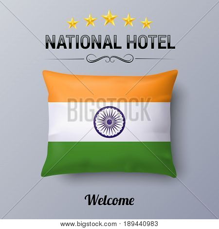Realistic Pillow and Flag of India as Symbol National Hotel. Flag Pillow Cover with Indian flag