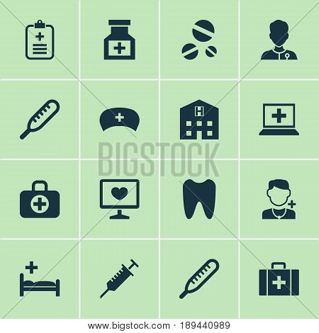 Drug Icons Set. Collection Of Diagnosis, Physician, Cap And Other Elements. Also Includes Symbols Such As Polyclinic, Nurse, Heartbeat.
