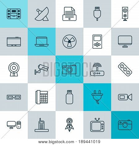 Device Icons Set. Collection Of Switch, Spectacles, Digital Camera And Other Elements. Also Includes Symbols Such As Extension, Apparatus, Printer.