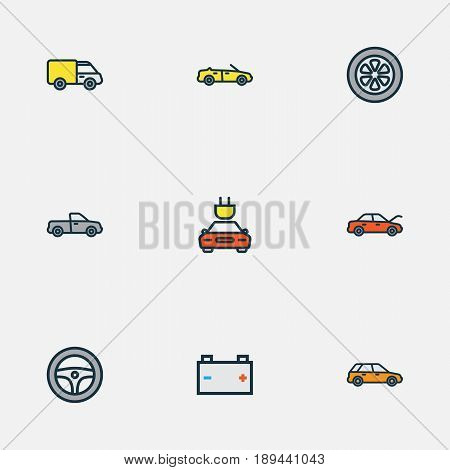 Auto Colorful Outline Icons Set. Collection Of Accumulator, Electric, Auto And Other Elements. Also Includes Symbols Such As Track, Auto, Suv.