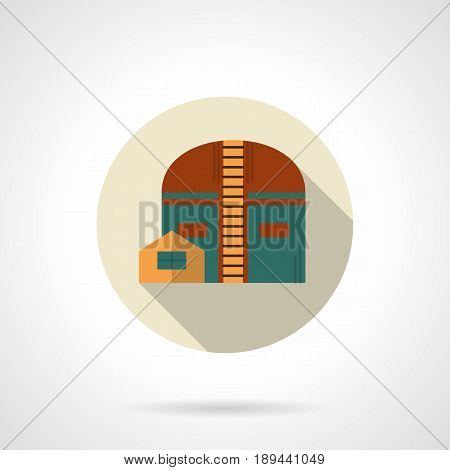 Abstract symbol of industrial hangar. Storage architecture in industry. Flat color style round vector icon.