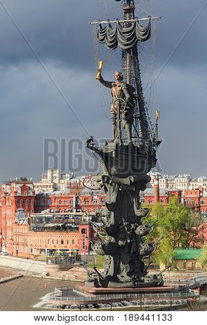 MOSCOW/ RUSSIA - MAY 9, 2017. Peter the Great Statue, designed by Zurab Tsereteli to commemorate 300 years of the Russian Navy. Moscow, Russia.