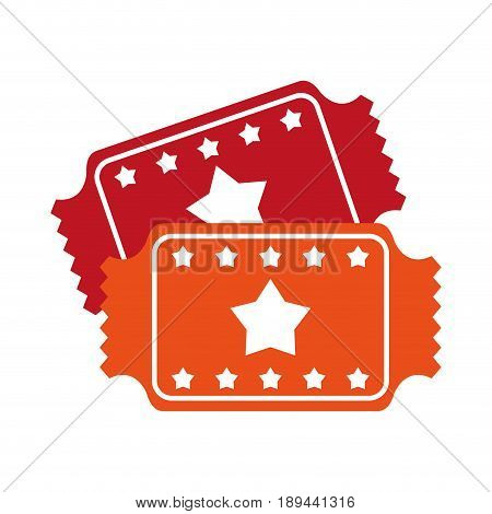 movie tickets icon image with stars vector illustration design