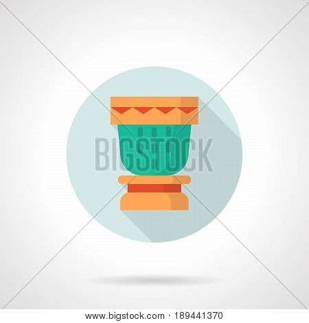 Abstract symbol of colorful drum for souvenir or gift. Percussion musical instrument. Round flat design vector icon.