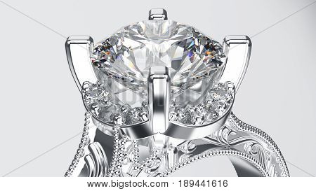 3D illustration zoom silver ring with diamonds and ornament on a grey background