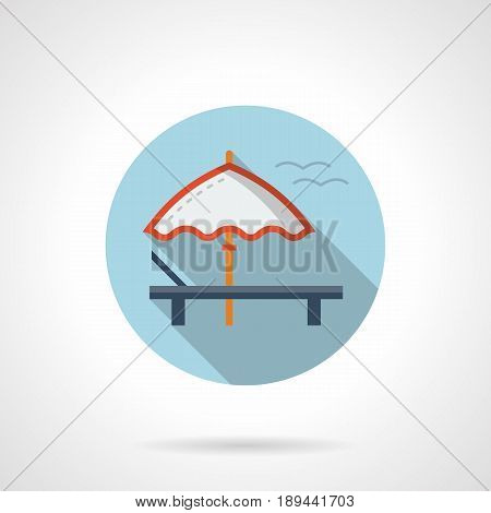 Abstract symbol of white sun umbrella and recliner. Beach or seacoast leisure. Round flat design vector icon.
