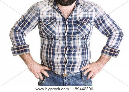 Adult man in small shirt and jeans on white background. Weight loss concept