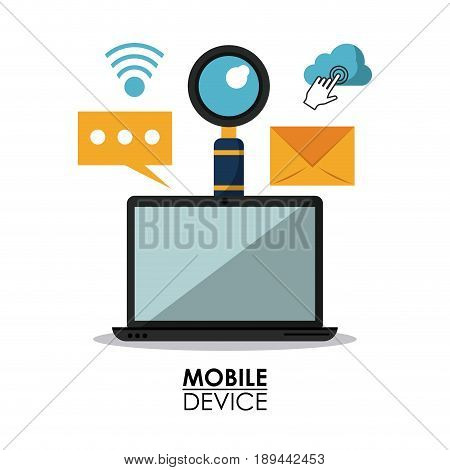 white background poster of mobile devices with laptop computer and common icons vector illustration