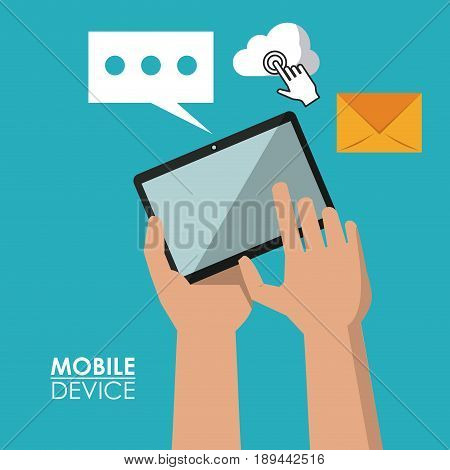 colorful poster of mobile devices with hands holding tablet and common icons in background vector illustration