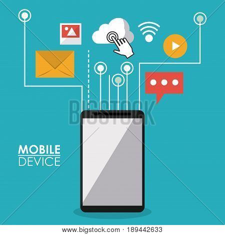 colorful poster mobile device of smartphone with link to commons apps icons vector illustration