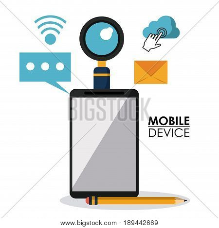 white background poster of mobile device with smartphone and common icons in top view vector illustration