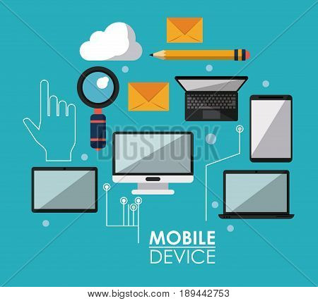 blue poster with common mobile devices and icons vector illustration