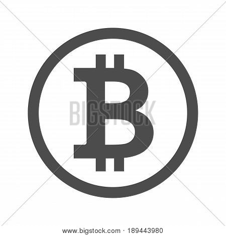 Bitcoin sign icon for internet money. Crypto currency symbol and coin image for using in web projects or mobile applications. Blockchain based secure cryptocurrency. Isolated vector illustration.