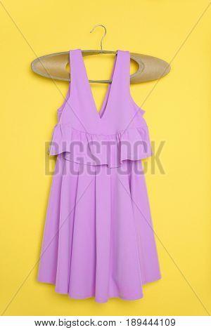 Beautiful lilac dress on hanger
