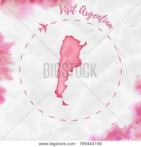 Argentina Watercolor Map In Red Colors. Visit Argentina Poster With Airplane Trace And Handpainted W