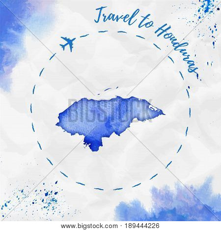 Honduras Watercolor Map In Blue Colors. Travel To Honduras Poster With Airplane Trace And Handpainte