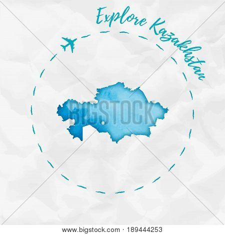 Kazakhstan Watercolor Map In Turquoise Colors. Explore Kazakhstan Poster With Airplane Trace And Han