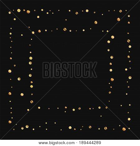 Sparse Gold Confetti. Square Chaotic Frame On Black Background. Vector Illustration.