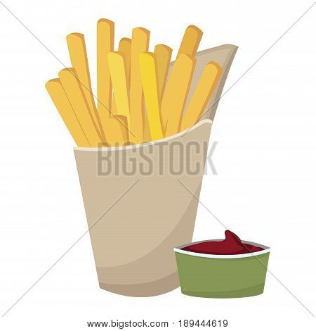 fast food french fries tasty paper box with ketchup vector illustration