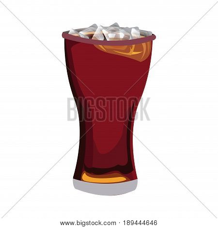 glass of cola with ice cubes drink soda vector illustration