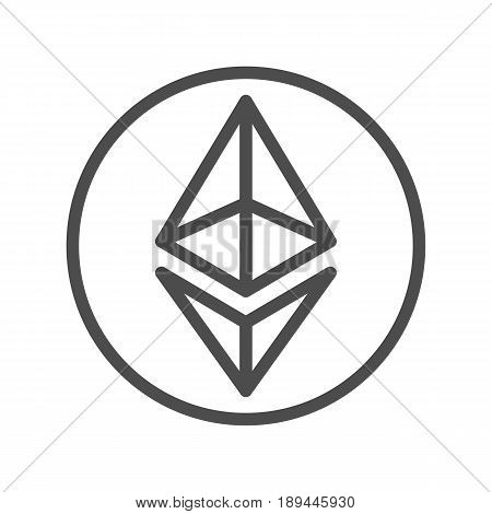 Ethereum line icon for internet money. Crypto currency symbol and coin image. Blockchain based secure cryptocurrency. For using in web projects or mobile applications. Isolated vector illustration.