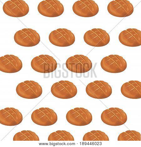 seamless pattern round bread bun baker vector illustration