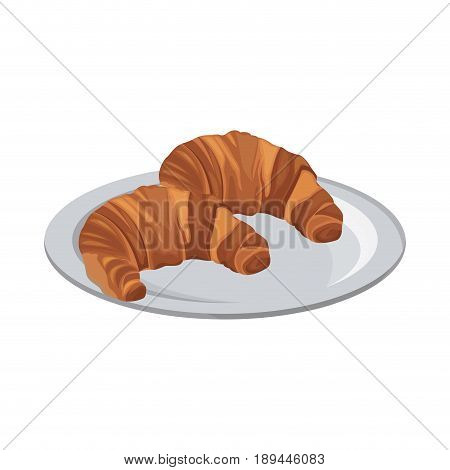 tasty yummy croissant bread bake food with plate vector illustration
