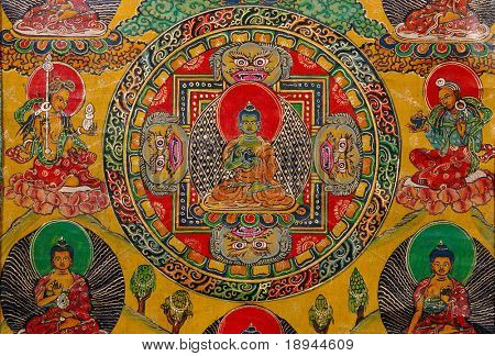 "Antique ""Thangka"": is a painted or embroidered Buddhist banner which was hung in a monastery or a family altar and carried by lamas in ceremonial processions. poster"