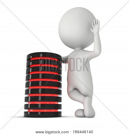 Man stand near futuristic server hard disk and database or battery cell. 3d render isolated on white. Web Hosting or cloud computing concept.