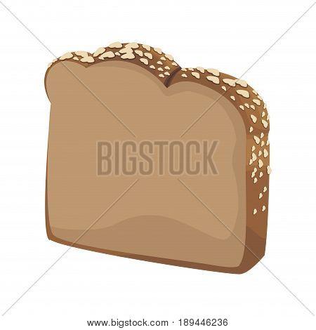 slice loaf of freshly baked bread wheat grains vector illustration