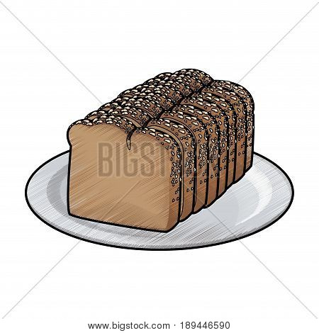 slice loaf of freshly baked bread wheat whole on plate vector illustration