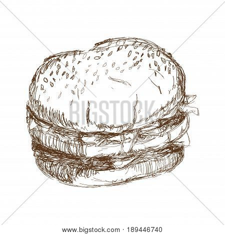 burger beefsteak tomato letucce cheese engraving vector illustration