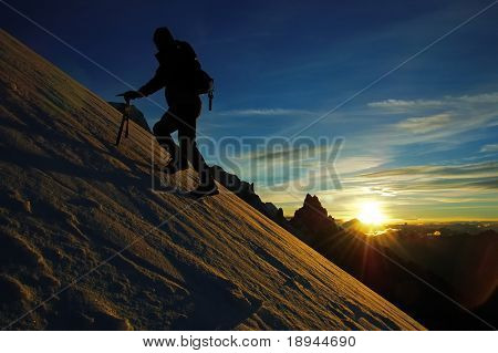 mountaineer climb the south face of Mont Blanc, Italy.