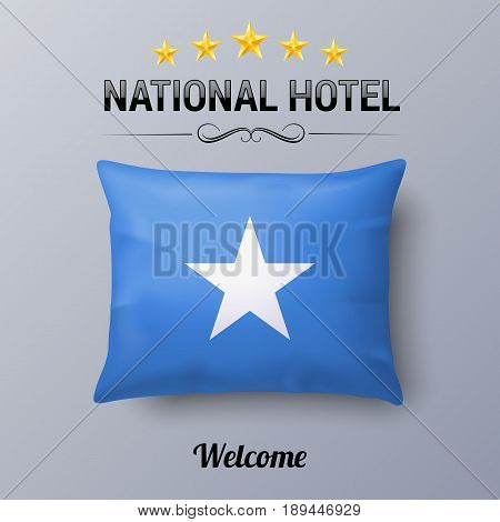Realistic Pillow and Flag of Somalia as Symbol National Hotel. Flag Pillow Cover with Somalian flag