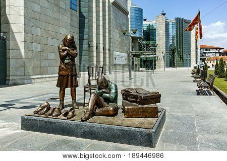 SKOPJE, REPUBLIC OF MACEDONIA - 13 MAY 2017: Holocaust Museum in city of  Skopje, Republic of Macedonia