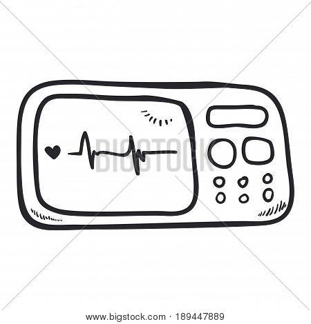 Heart beating monitor draw icon vector illustration graphic design