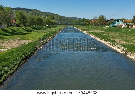 PIROT, SERBIA -16 APRIL 2016: Amazing Landscape of Nisava river passing through the town of Pirot, Republic of Serbia