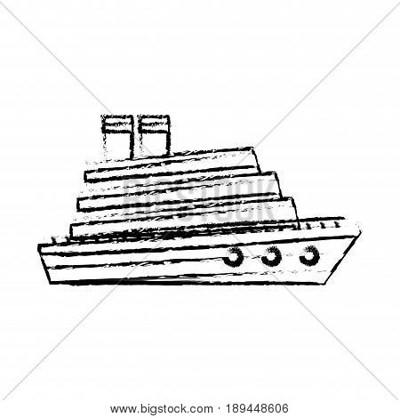 cruise boat in the sea side view vacation travel style vector illustration