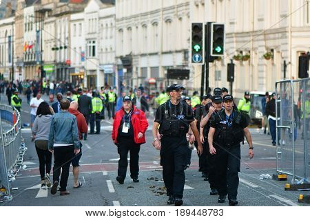 CARDIFF UK - 3 JUNE 2017 Police ensure safety during Champions League Final. British police and security services on high alert as hundreds of thousands of fans enjoy football in the capital of Wales