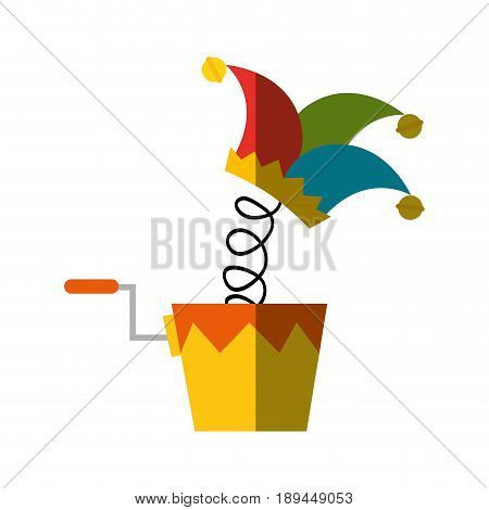 joke box with harlequin hat icon over white background. vector illustration