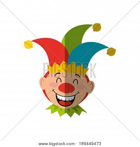 cartoon harlequin icon over white background. colorful design. vector illustration