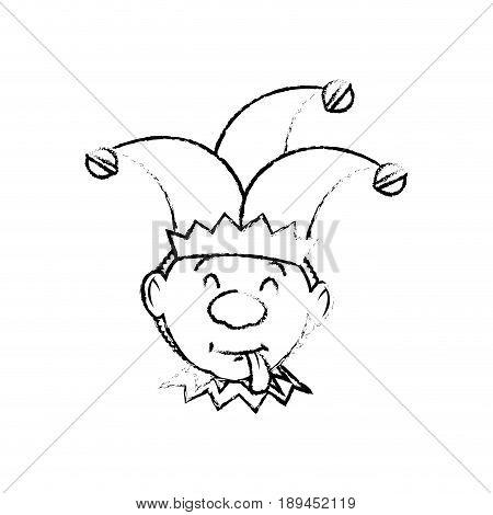 Cartoon harlequin icon over white background. vector illustration