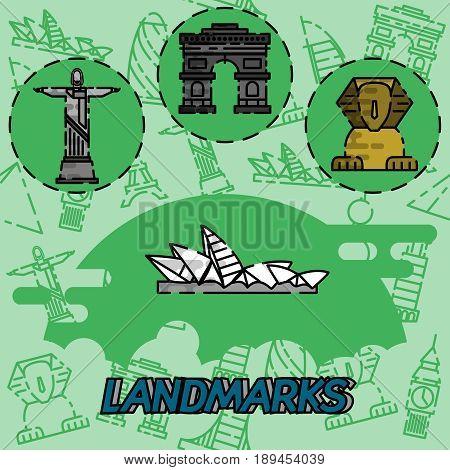 World landmarks flat concept icons. Travel and Tourism. Vector illustration