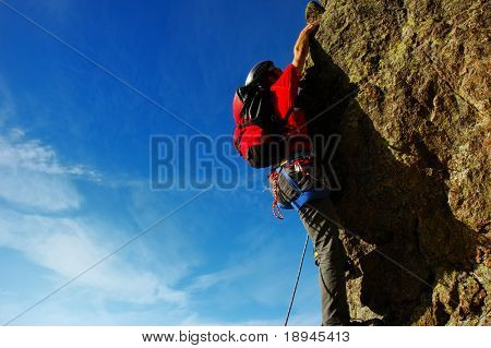 Male climber, Rock-climbing sport, horizontal orientation, day light poster