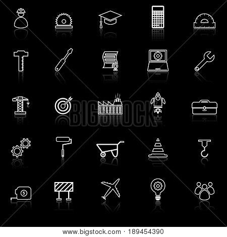 Engineering line icons with reflect on black background, stock vector