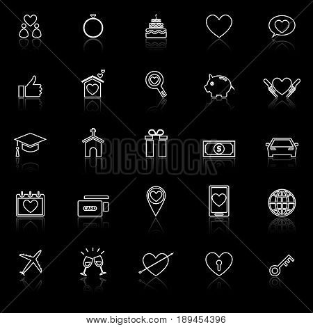 Family line icons with reflect on black background, stock vector