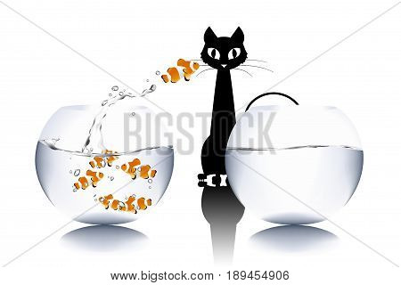Business Challenge Concept : Black cat watching golden fish that jumping to fishbowl. (3D Illustration)