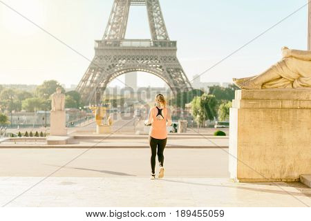 Woman Run At Tour Eiffel