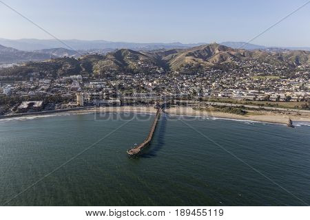 Aerial view of Ventura Pier and the Pacific Coast in Southern California.