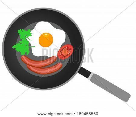 vector illustration of fried eggs on frying pan flat design